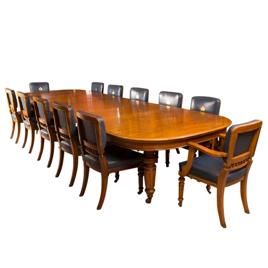 antique victorian oak dining table and 12 chairs at