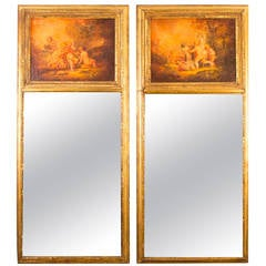 Antique Pair of French Mirrors Manner of Boucher c.1920
