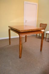 Antique Art Deco Burr Walnut Dining Table & 4 Chairs image 3