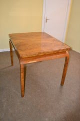 Antique Art Deco Burr Walnut Dining Table & 4 Chairs image 4