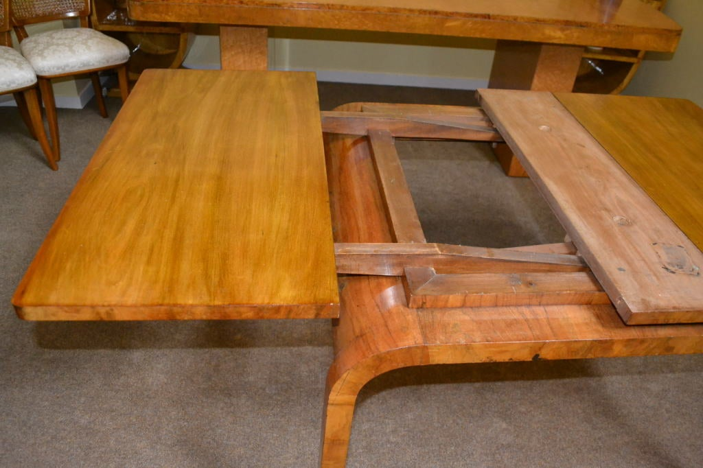 Antique Art Deco Burr Walnut Dining Table & 4 Chairs 8