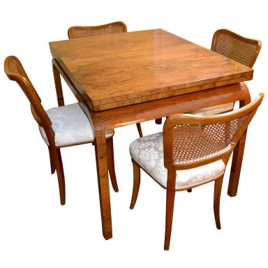 Antique Art Deco Burr Walnut Dining Table & 4 Chairs