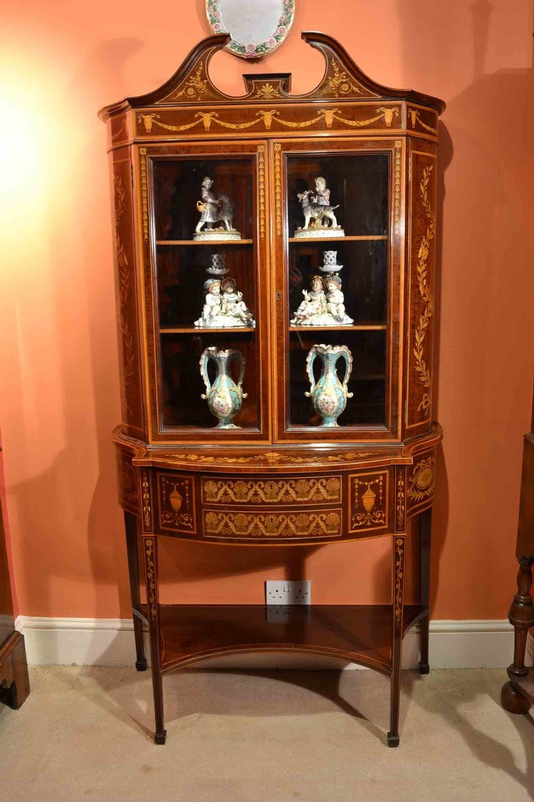 Antique edwardian inlaid marquetry cabinet circa 1880 at for 1880 kitchen cabinets