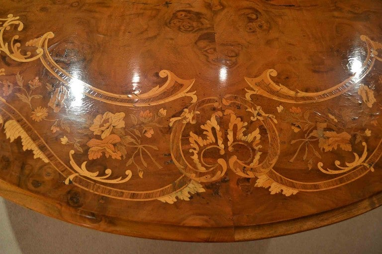 British Antique Victorian Marquetry Loo Table 5ft Diameter