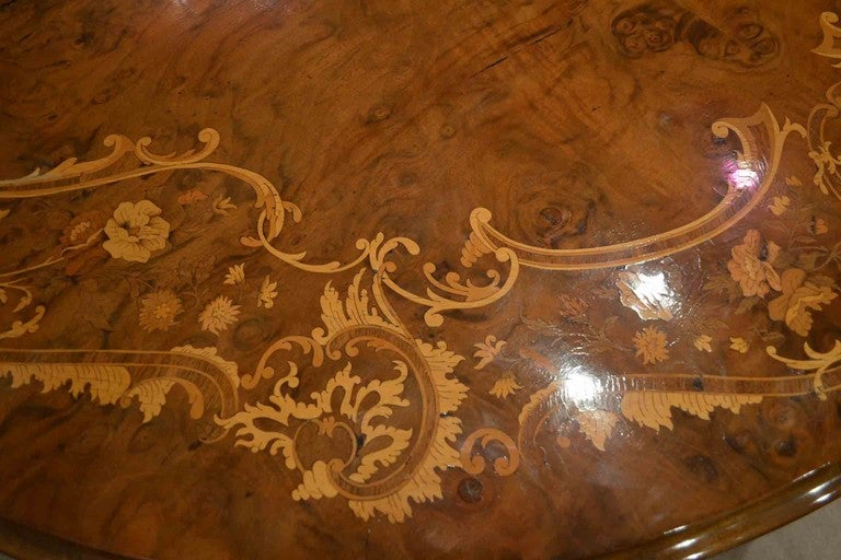 19th Century Antique Victorian Marquetry Loo Table 5ft Diameter