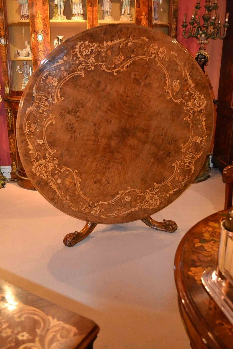 Antique Victorian Marquetry Loo Table 5ft Diameter 4