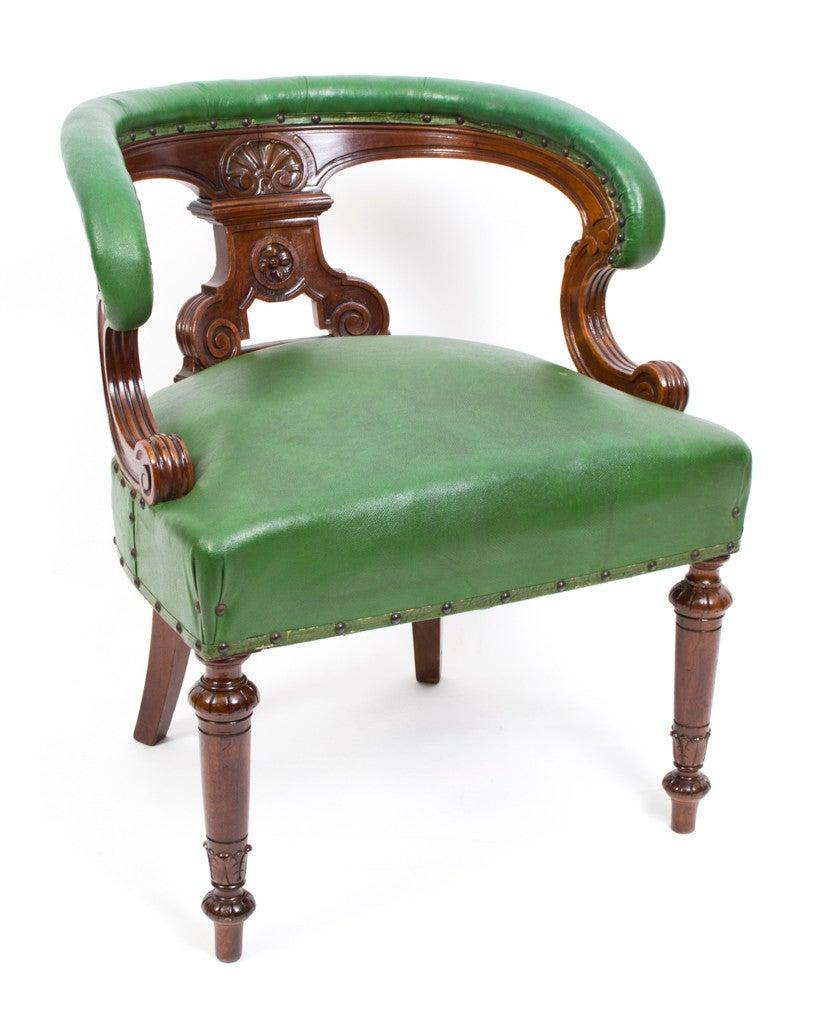 this antique victorian walnut desk chair tub chair is no longer