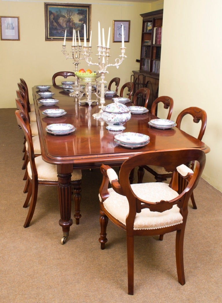 Vintage Mahogany Dining Table And 12 Chairs At 1stdibs