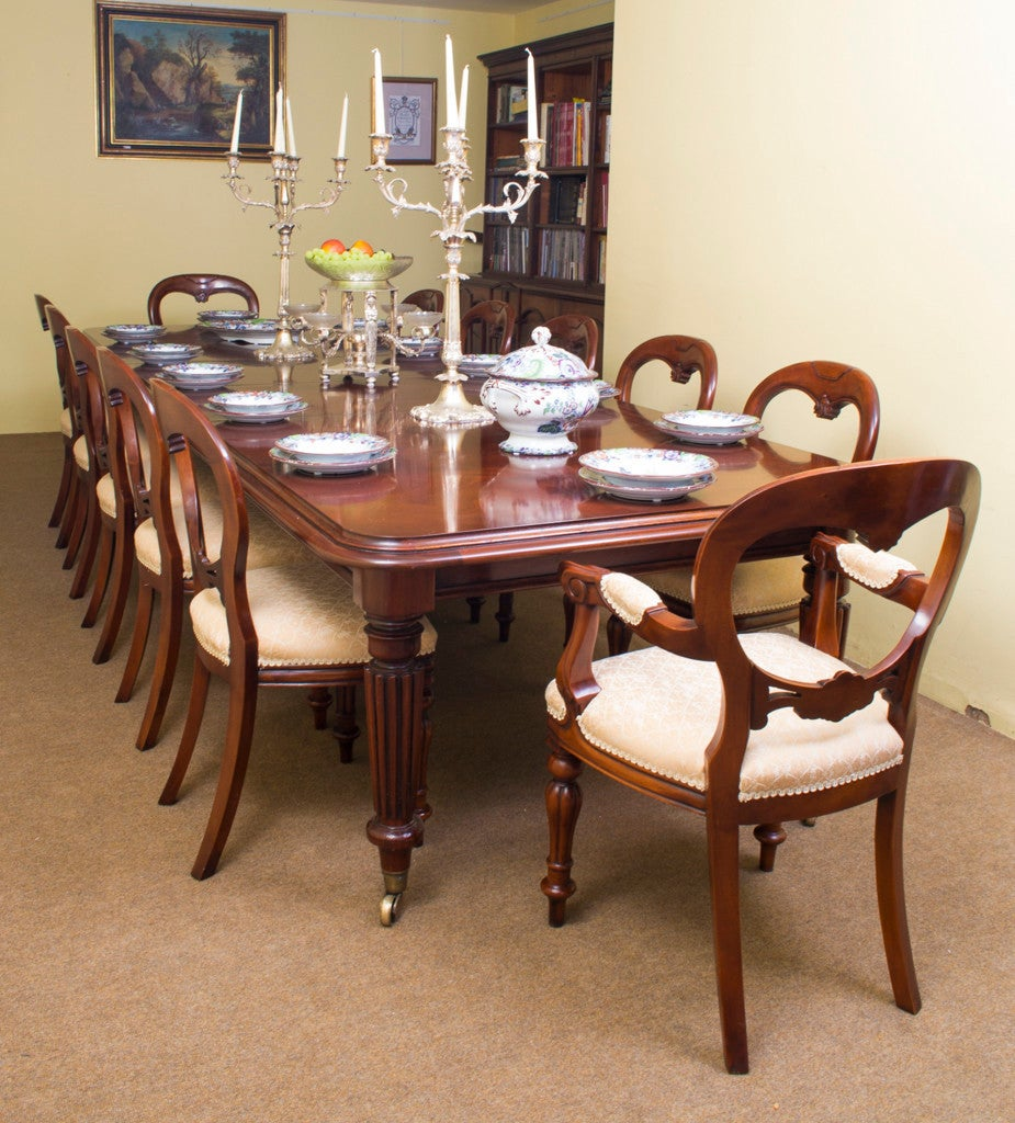 Dining Room Furniture Sale: Vintage Mahogany Dining Table And 12 Chairs At 1stdibs
