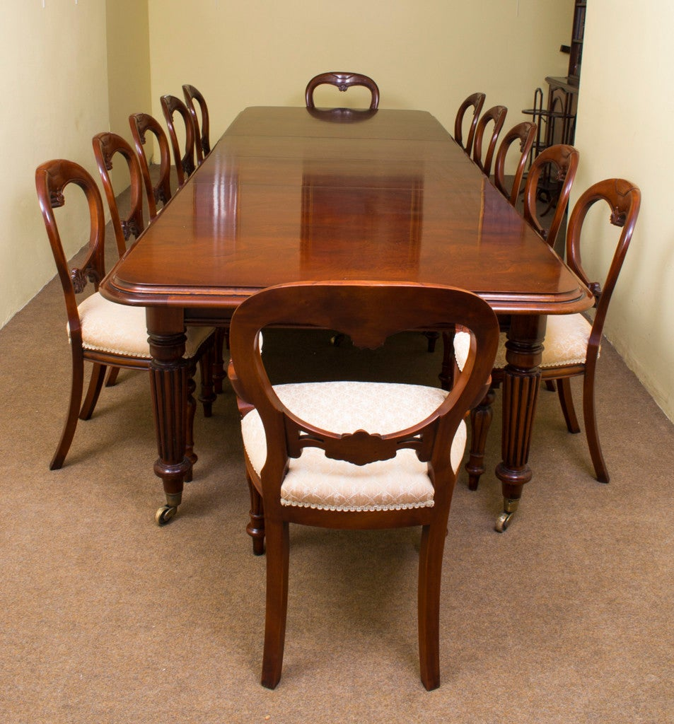 Dining Room Table Seats 12: Vintage Mahogany Dining Table And 12 Chairs At 1stdibs