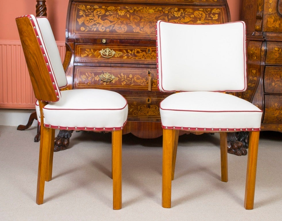 Antique Art Deco Walnut Chairs X 6 White Leather At