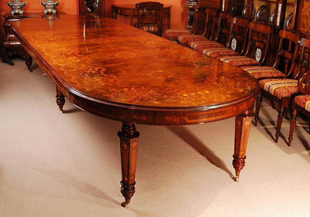 Victorian Marquetry Walnut Dining Table and 14 Chairs at  : 950613490178093 from 1stdibs.com size 1023 x 717 jpeg 91kB