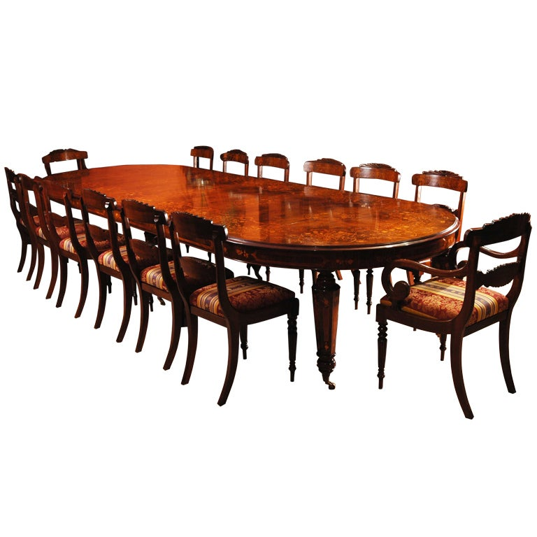 Victorian Marquetry Walnut Dining Table and 14 Chairs at 1stdibs