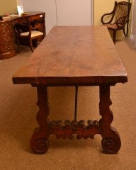 Antique Spanish Walnut Refectory Dining Table 18th Century image 2