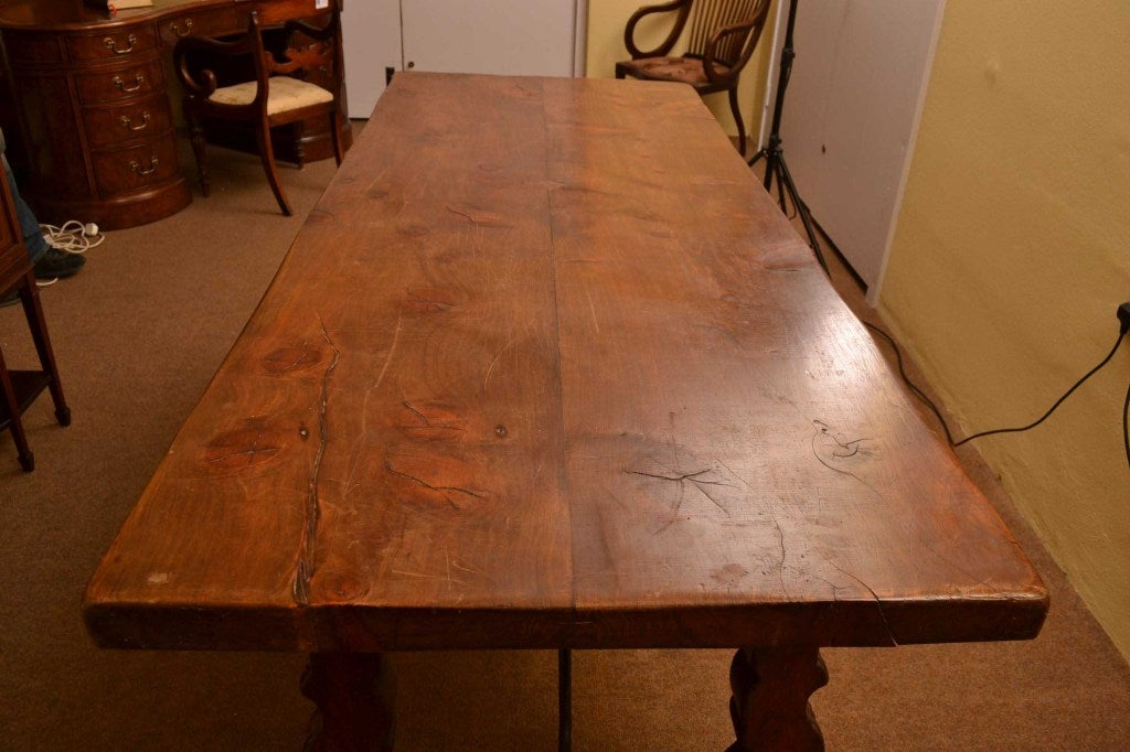 18th Century and Earlier Antique Spanish Walnut Refectory Dining Table 18th Century For Sale