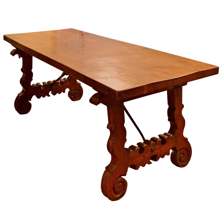 Antique Spanish Walnut Refectory Dining Table 18th Century For Sale