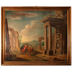 19th Century Oil Painting 'Classical Roman Ruins'
