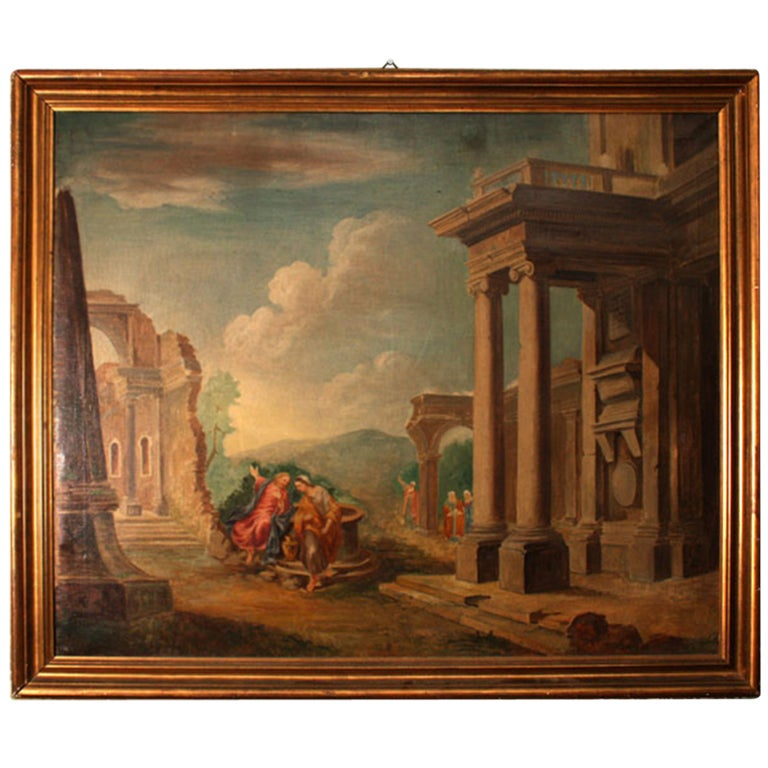 19th century oil painting 39 classical roman ruins 39 for sale