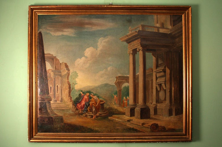 This is a beautiful capriccio, a decorative painting showing a fantasy landscape of Classical Romanesque ruins animated with characters at play, circa 1880.  It is in early 17th century style and painted by an artist of the German School in the 19th