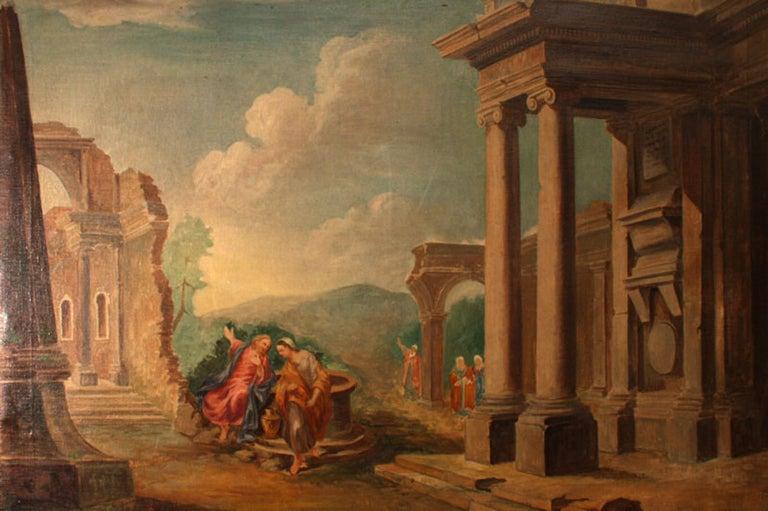 German 19th Century Oil Painting 'Classical Roman Ruins'