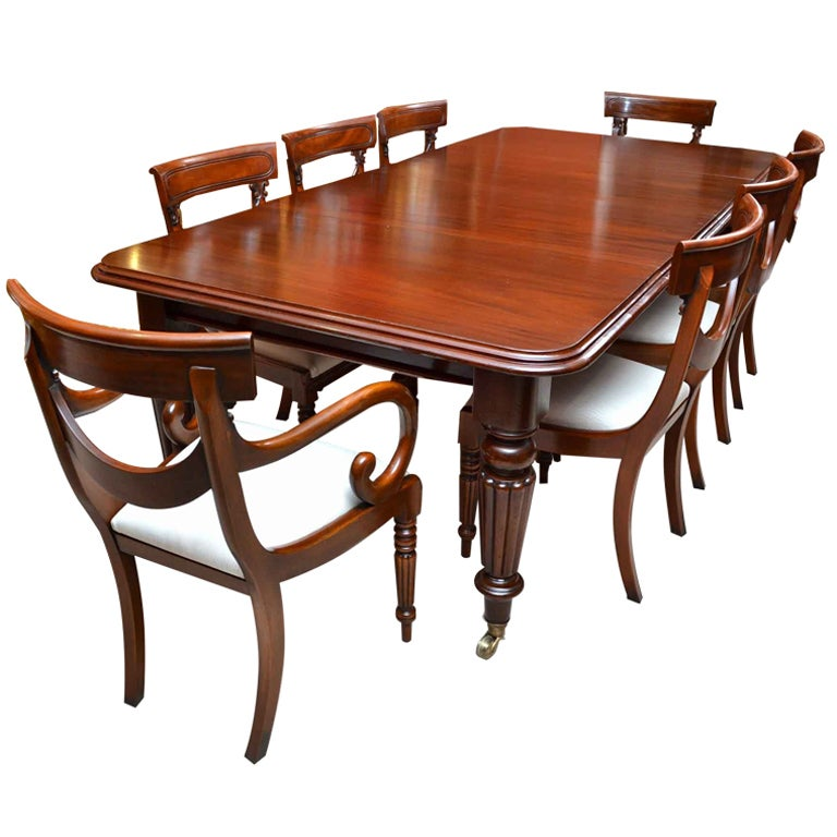 Antique victorian 8 ft mahogany dining table and 8 chairs for Antique dining room tables
