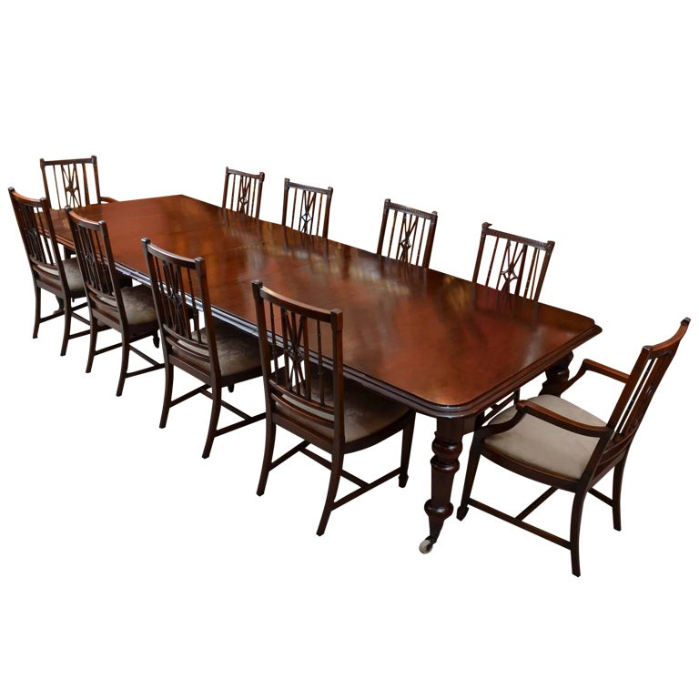 ... 12ft Victorian Dining Table circa 1870 and 10 chairs at 1stdibs