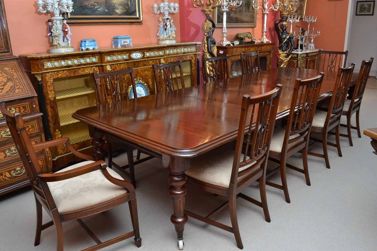 antique 12ft victorian dining table circa 1870 and 10