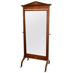 Antique Edwardian Inlaid Cheval Mirror circa 1900