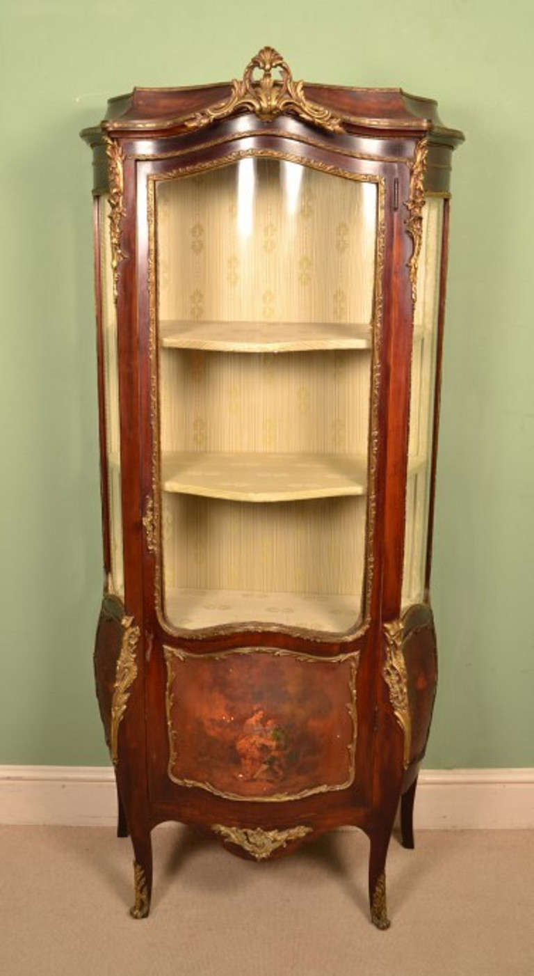 This is a lovely antique French Vernis Martin mahogany serpentine vitrine  in the Louis XV manner - Antique French Vernis Martin Display Cabinet Circa 1880 At 1stdibs