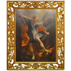 """Antique Oil Painting """"St Michael"""" after Guido Reni"""