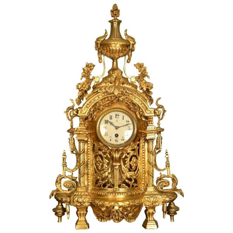 Antique French Gilt Bronze Mantel Clock c1890 at 1stdibs