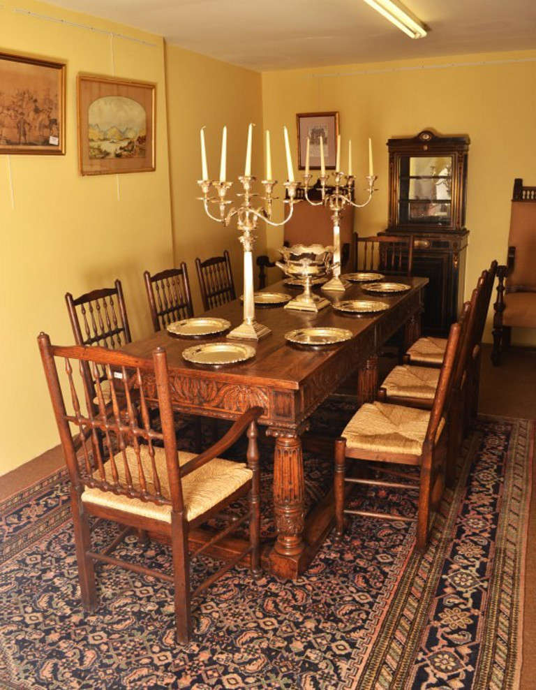 Antique Oak Refectory Dining Table And 8 Chairs At 1stdibs