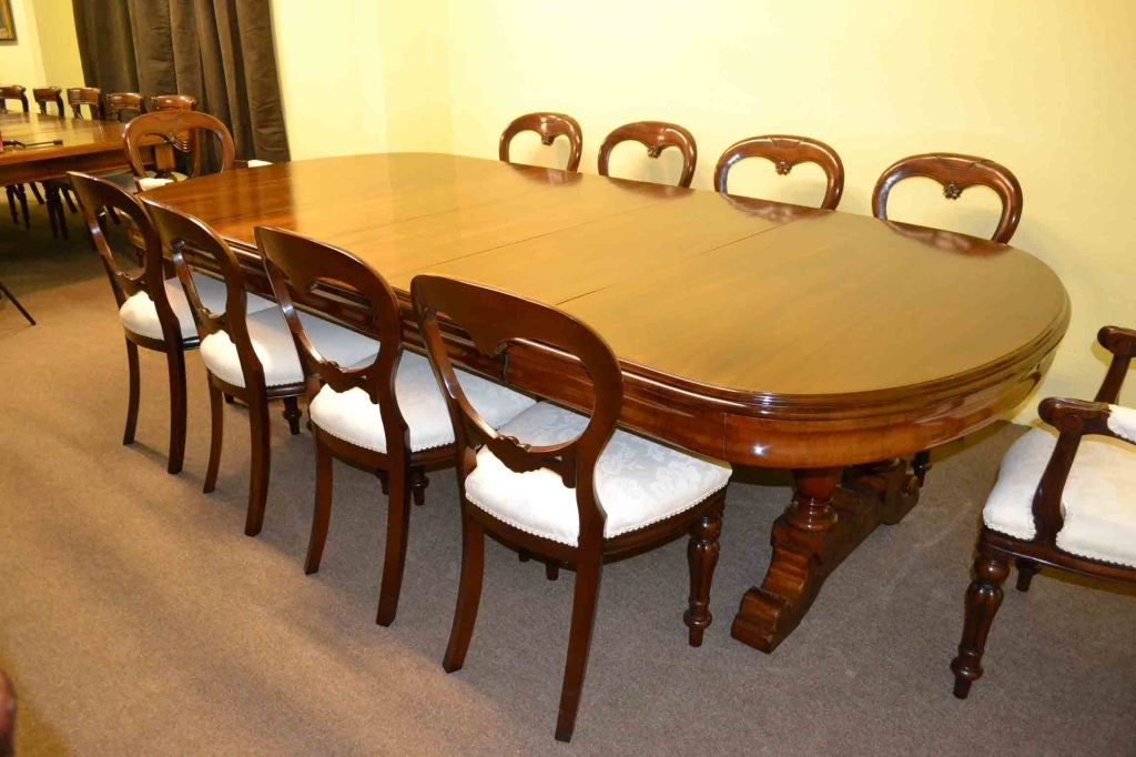 Antique victorian dining table 10 ft and 10 chairs for 10 ft dining room table