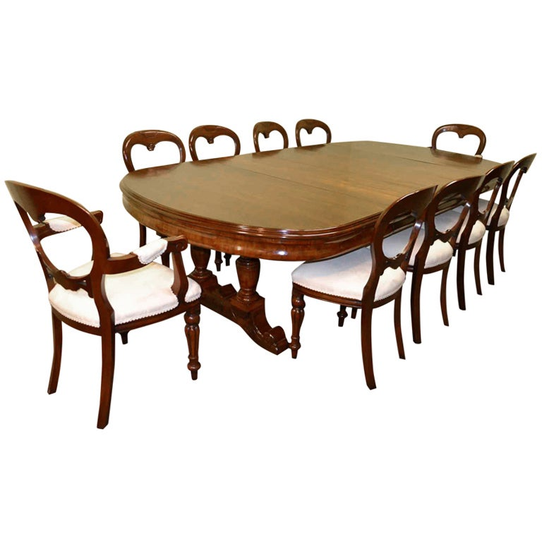 Antique Victorian Dining Table c.1880 10 ft and 10 chairs at 1stdibs