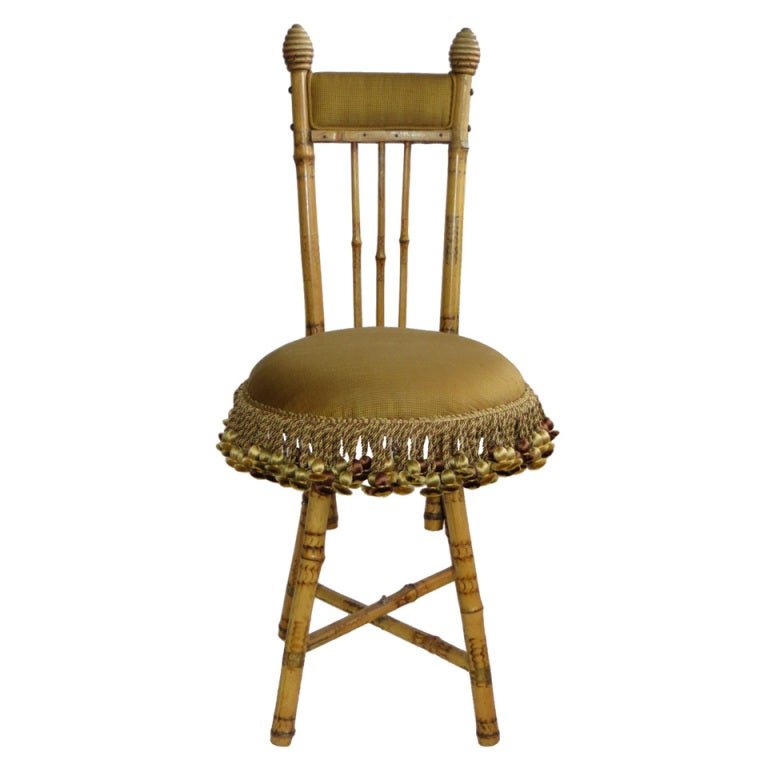 1940 s bamboo boudoir chair with silk upholstery and