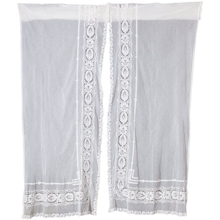pair battenburg and applique tape lace curtains at 1stdibs