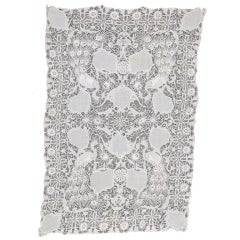 Linen White Cutwork With Floral And Peacock Design Tablecloth