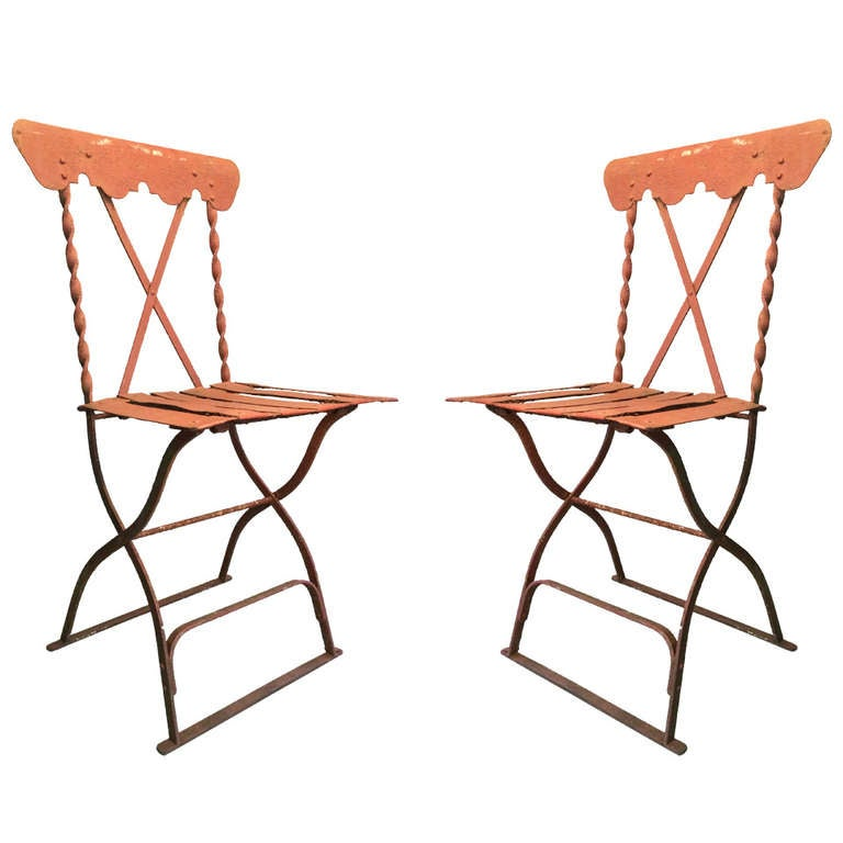 A pair of french iron garden chairs at 1stdibs French metal garden furniture