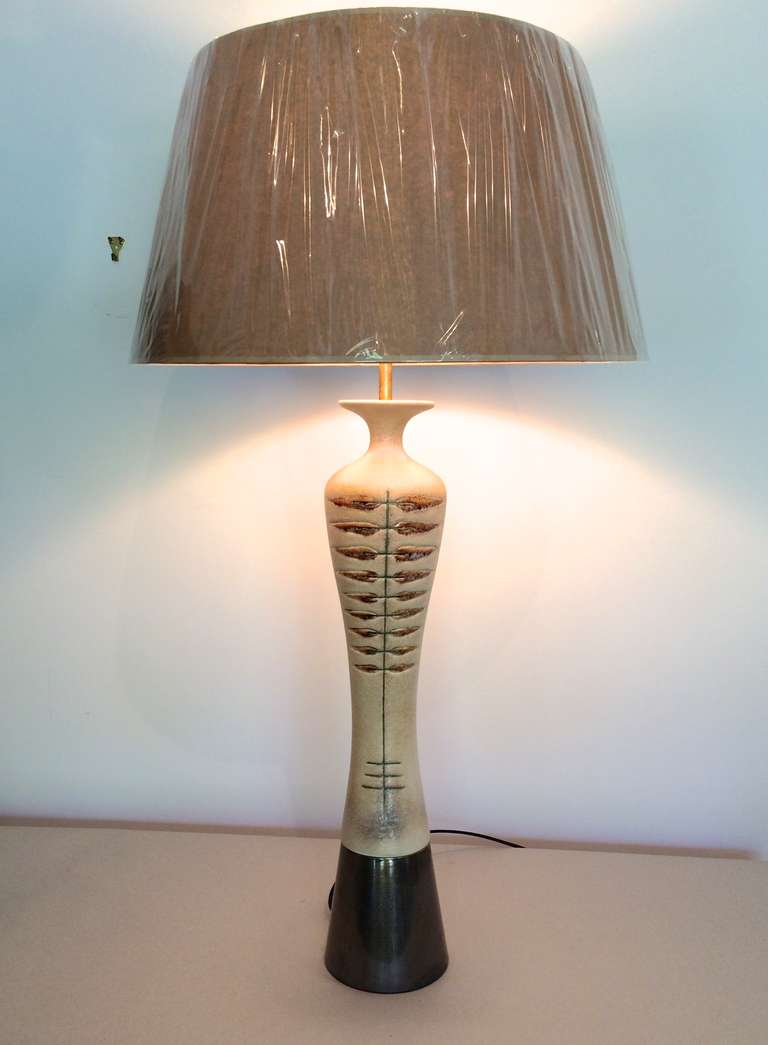 tall thin italian pottery lamp at 1stdibs. Black Bedroom Furniture Sets. Home Design Ideas