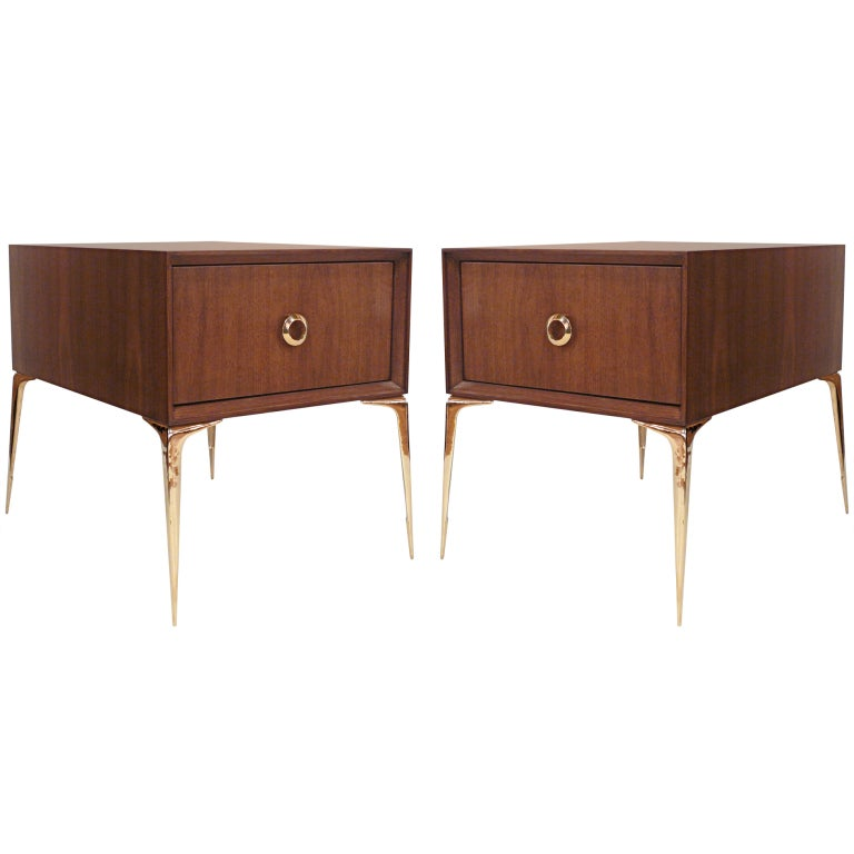 Pair of Stiletto End Tables in Natural Walnut