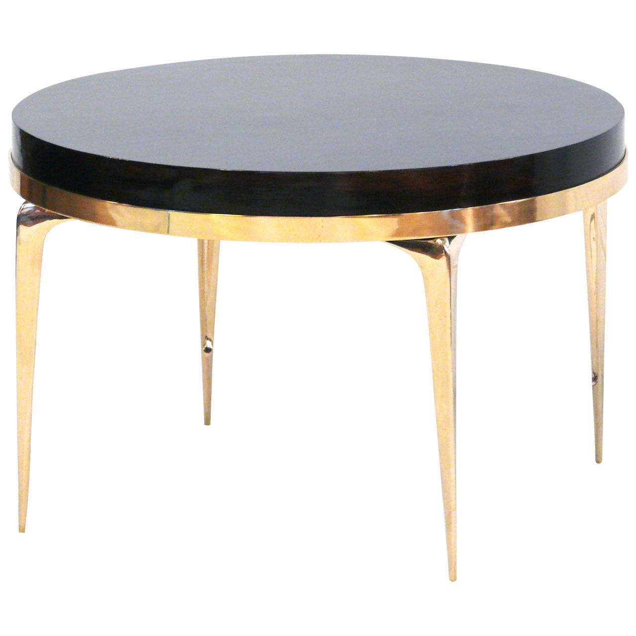 CF MODERN Custom Brass Banded Round Stiletto Side Table