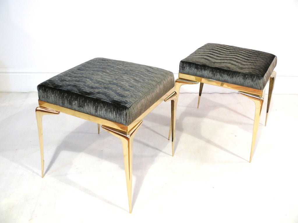 Pair Of Square Stiletto Ottomans For Sale At 1stdibs