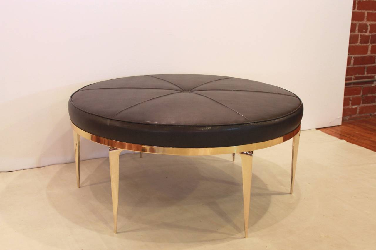 Framed Brass Stiletto Spider Ottoman Or Coffee Table At