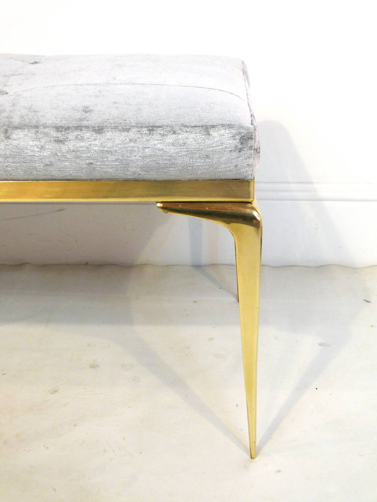 CF MODERN Custom Framed Brass Stiletto Bench In Excellent Condition For Sale In New York, NY