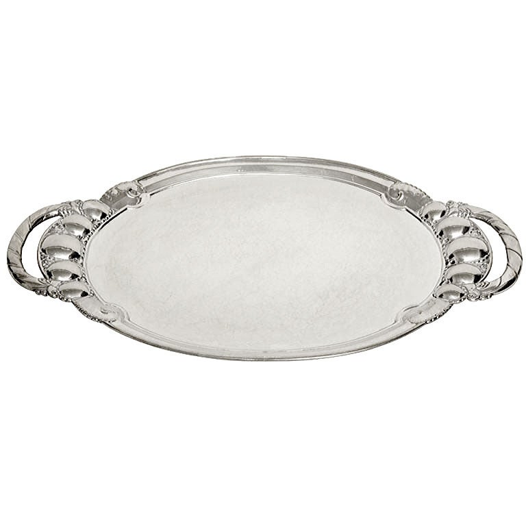 Georg Jensen Danish Art Deco Large Sterling Silver Tray 1