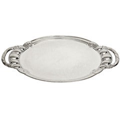 Georg Jensen Danish Art Deco Large Sterling Silver Tray