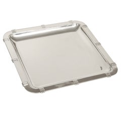 Art Deco Silver Serving Tray in Bayonne Pattern by Jean Puiforcat