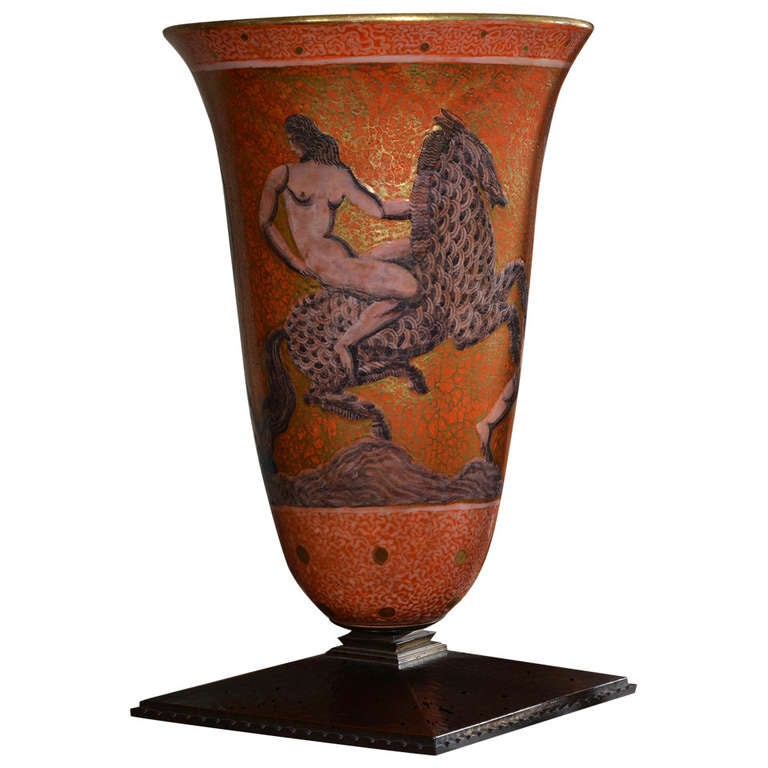 Jean Mayodon Art Deco Large Stoneware Lighted Urn on Bronze Base