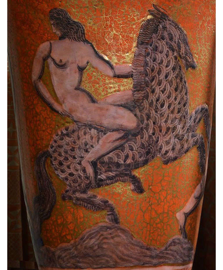 Jean Mayodon Art Deco Large Stoneware Lighted Urn on Bronze Base In Good Condition For Sale In New York, NY