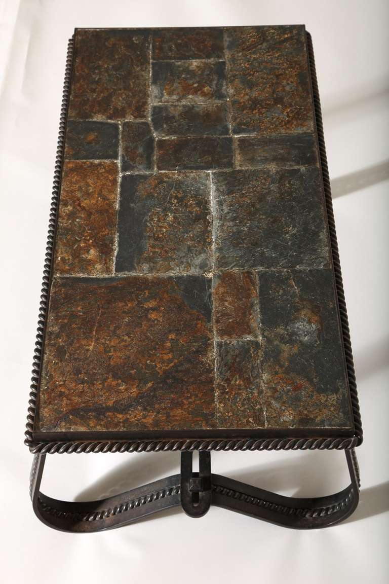 French Art Deco Wrought-Iron and Slate Coffee Table 9